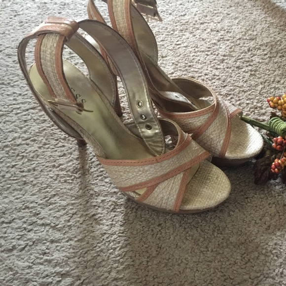 Guess Shoes - Guess Natural Ankle Strap Heels